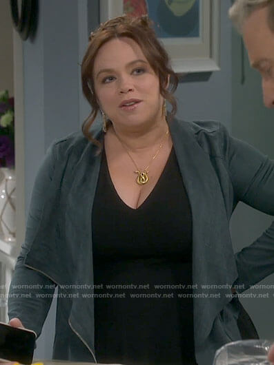 Kristin's green suede draped front jacket on Last Man Standing