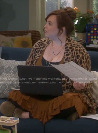 Kristin's brown ruffle trim tunic top and leopard print cardigan on Last Man Standing