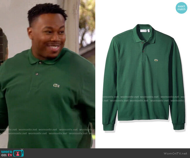 Lacoste Classic Long Sleeve Pique Polo Shirt worn by Marty (Marcel Spears) on The Neighborhood