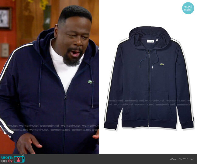 Lacoste Long Sleeve Fleece With Stripe Sweatshirt worn by Calvin (Cedric The Entertainer) on The Neighborhood