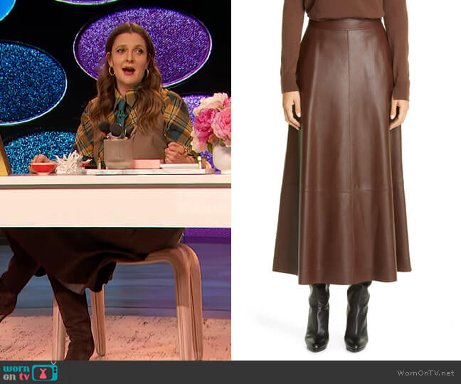 Sumner Plonge Leather Midi Skirt by Lafayette 148 worn by Drew Barrymore  on The Drew Barrymore Show