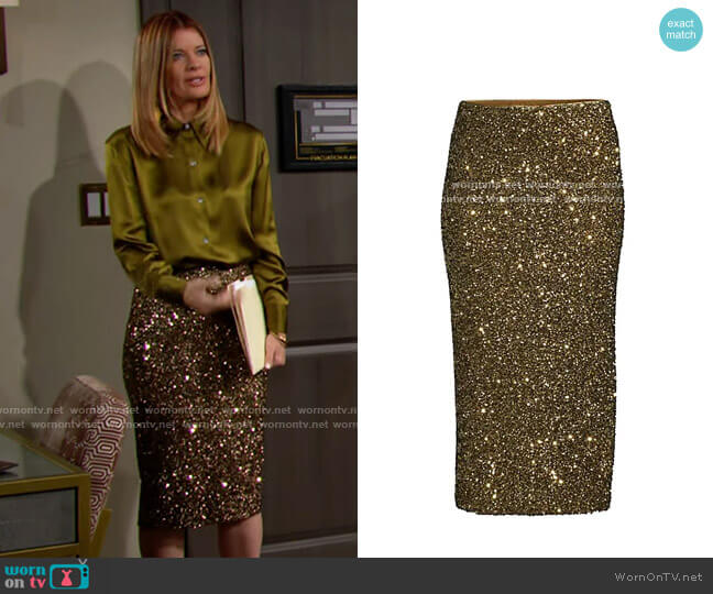 Lafayette 148 NY Casey Sequin Skirt in Heritage Gold worn by Phyllis Summers (Michelle Stafford) on The Young & the Restless