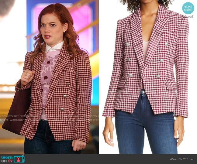 Kenzie Double Breasted Houndstooth Tweed Blazer by L'Agence worn by Zoey Clarke (Jane Levy) on Zoeys Extraordinary Playlist