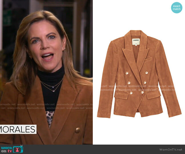 Kenzie Double-Breasted Suede Blazer by L'Agence worn by Natalie Morales  on Today