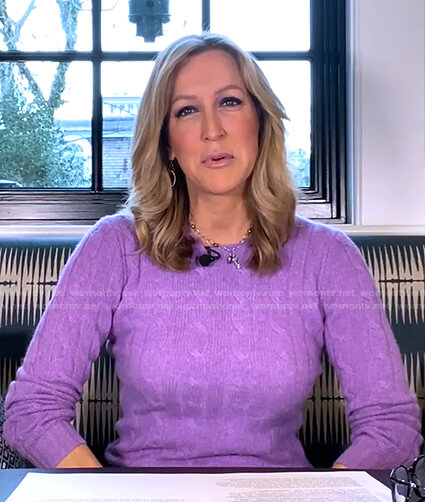 Lara's lilac cable knit sweater on Good Morning America