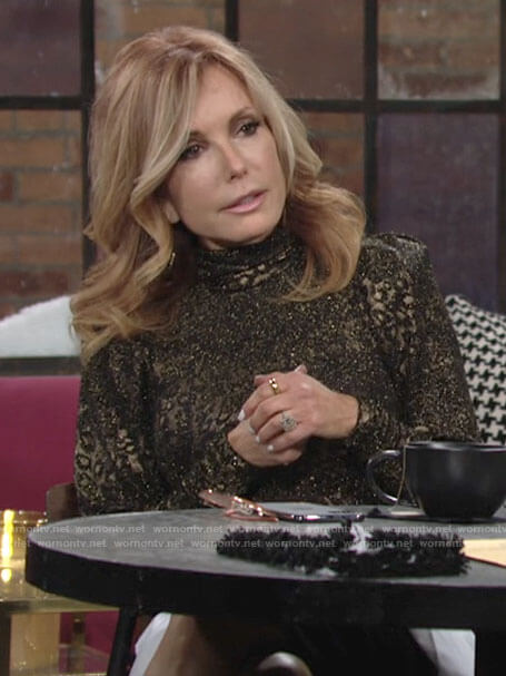 Lauren's metallic leopard print turtleneck top on The Young and the Restless