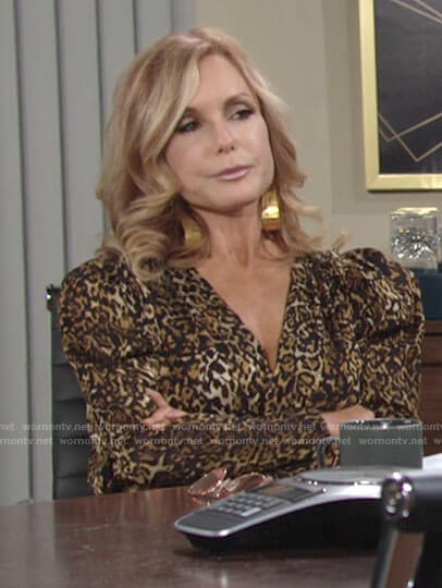 Lauren's puff sleeve leopard print dress on The Young and the Restless
