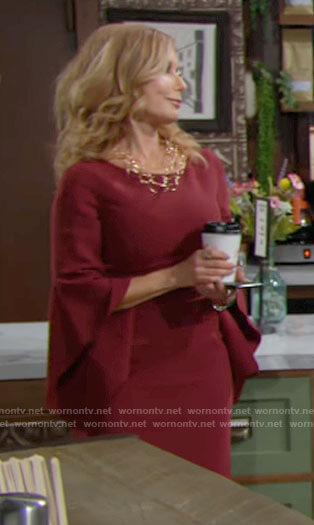Lauren's red bell sleeve dress on The Young and the Restless