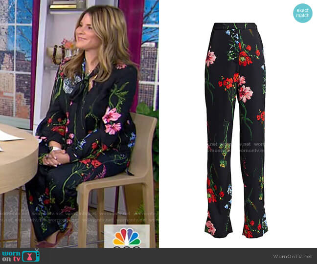 Floral Maggie Straight Leg Pants by Lela Rose worn by Jenna Bush Hager  on Today