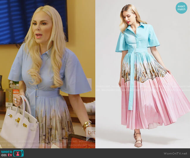 New York City Printed Pleated Shirt Dress by Lela Rose worn by Kameron Westcott  on The Real Housewives of Dallas
