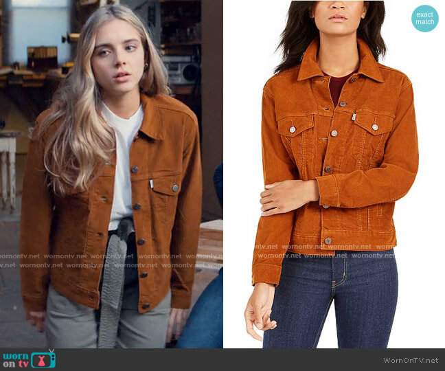 Levis Corduroy Trucker Jacket worn by Bette Whitlaw (Casimere Jollette) on Tiny Pretty Things