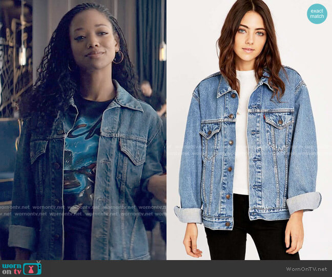 Urban Renewal Vintage Levis Denim Jacket worn by Neveah Stroyer (Kylie Jefferson) on Tiny Pretty Things