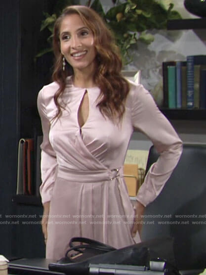 Lily's pink keyhole wrap dress on The Young and the Restless
