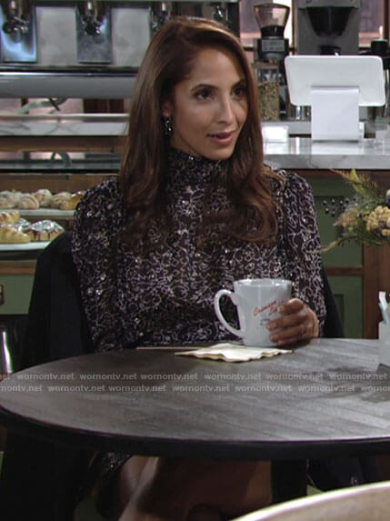 Lily's printed mock neck dress on The Young and the Restless