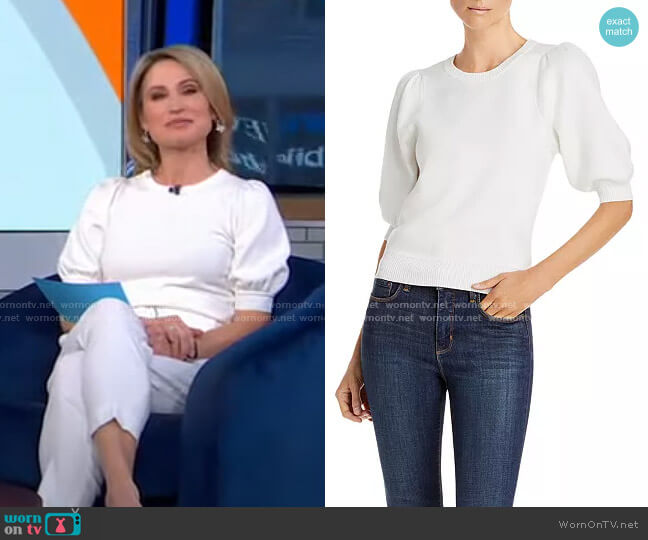 Abigail Puff Sleeve Sweater by Lini worn by Amy Robach  on Good Morning America