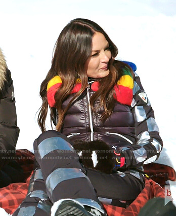 Lisa' black puffer vest and checker board ski pants on The Real Housewives of Salt Lake City