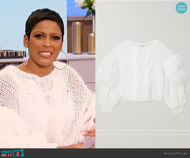 Feather-trimmed cable-knit mohair-blend sweater by Loewe worn by Tamron Hall  on Tamron Hall Show