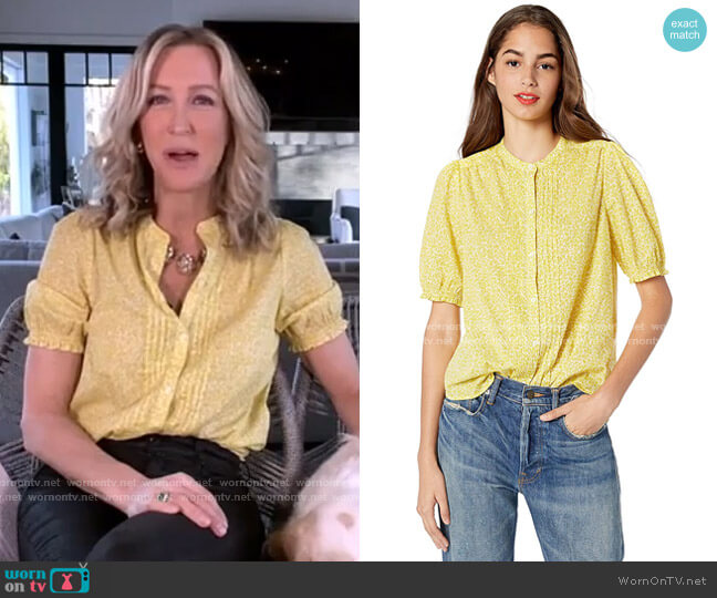Dakota Ruffle Sleeve Top by Lucky Brand worn by Lara Spencer  on Good Morning America