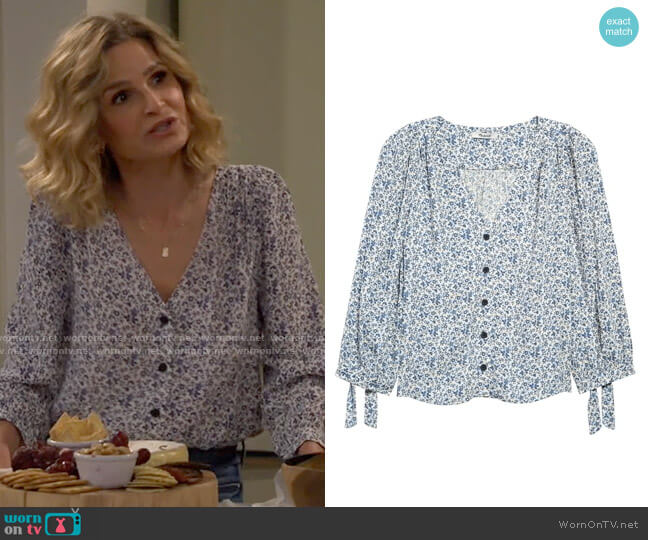 Madewell Americana Floral Tie Sleeve Button Front Top worn by Jean Raines (Kyra Sedgwick) on Call Your Mother