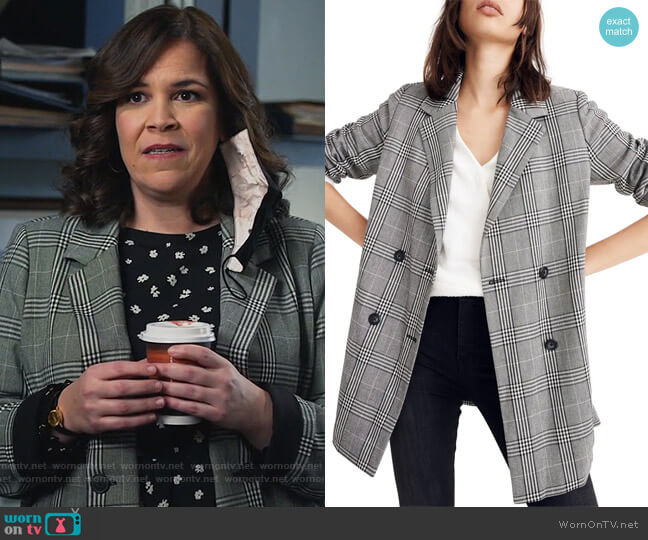 Caldwell Plaid Double Breasted Blazer by Madewell worn by Sara Castillo (Lindsay Mendez) on All Rise