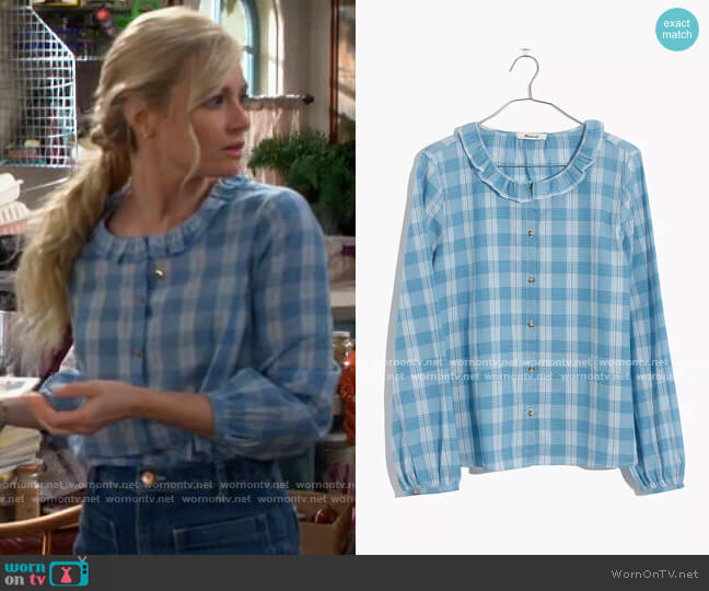 Madewell Ruffle-Neck Top in Colwell Plaid worn by Gemma (Beth Behrs) on The Neighborhood