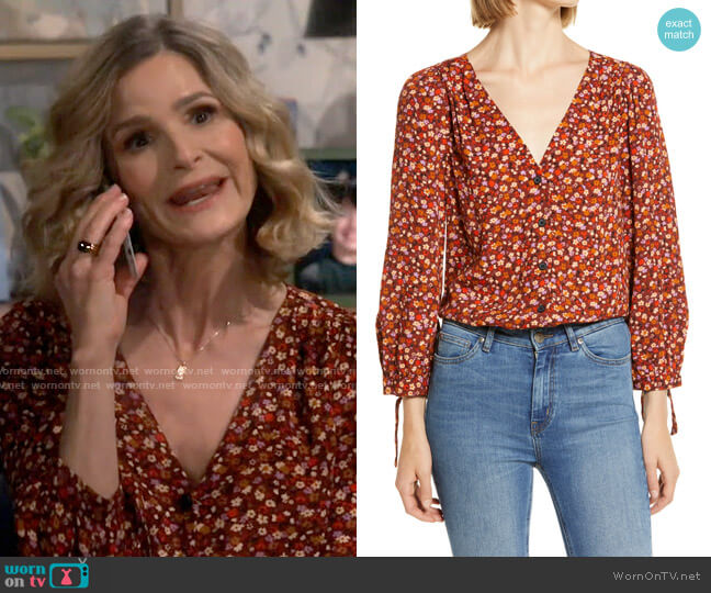 Madewell Spring Prairie Tie Sleeve Button Front Top worn by Jean Raines (Kyra Sedgwick) on Call Your Mother