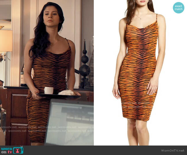 Madison & Berkeley Tiger Print Cowl Body-Con Dress worn by June Park (Daniela Norman) on Tiny Pretty Things