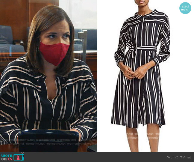 Raji Striped Shirt Dress by Maje worn by Sara Castillo (Lindsay Mendez) on All Rise