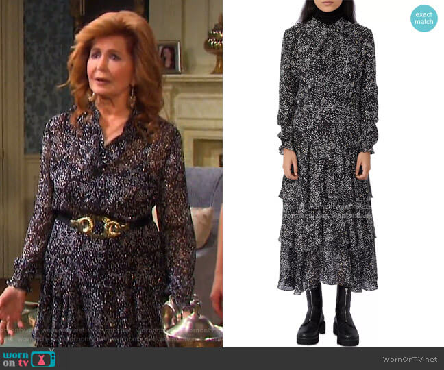 Ruffo Printed Ruffled Maxi Dress by Maje worn by Maggie Horton (Suzanne Rogers) on Days of our Lives
