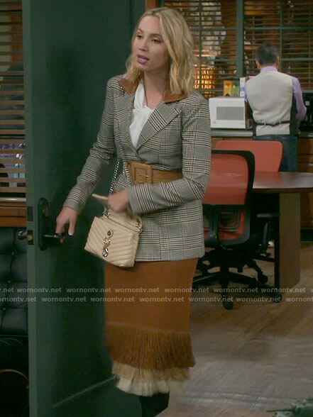 Mandy's plaid blazer with leather detail and fringed midi skirt on Last Man Standing