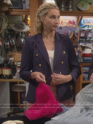 Mandy's navy pinstripe blazer on Last Man Standing