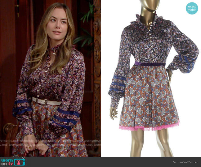 Marc Jacobs Printed Babydoll Dress worn by Hope Logan (Annika Noelle) on The Bold & the Beautiful