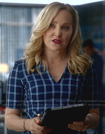Marissa's blue checked dress on Bull