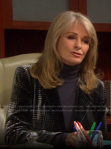 Marlena's grey houndstooth velvet blazer on Days of our Lives