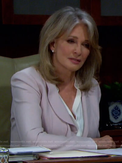 Marlena's pink ruffle trim blazer on Days of our Lives