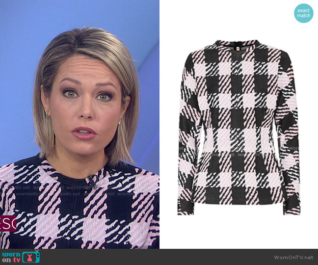 Checked Cotton-Blend Sweater by Marni worn by Dylan Dreyer  on Today