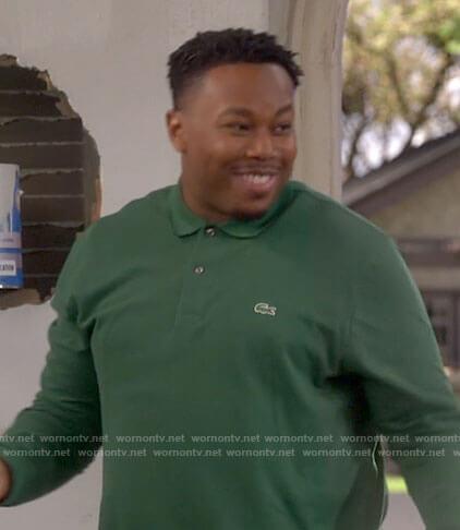 Marty's green long sleeved polo shirt on The Neighborhood