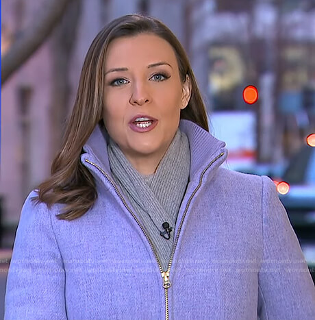 Mary's lilac zip front coat on Good Morning America