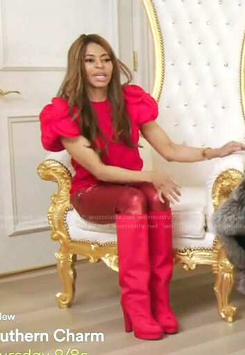 Mary's red metallic pants and knee-high boots on The Real Housewives of Salt Lake City