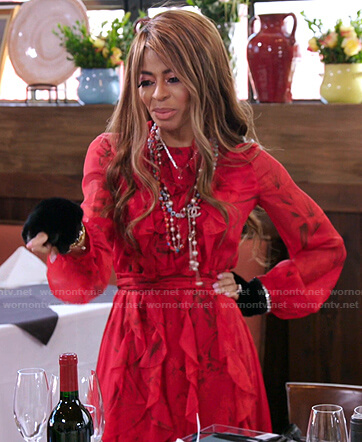 Mary's red floral ruffle chiffon dress on The Real Housewives of Salt Lake City