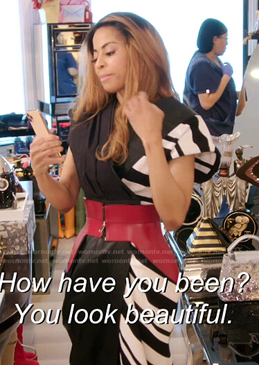 Mary's zebra wrap dress on The Real Housewives of Salt Lake City
