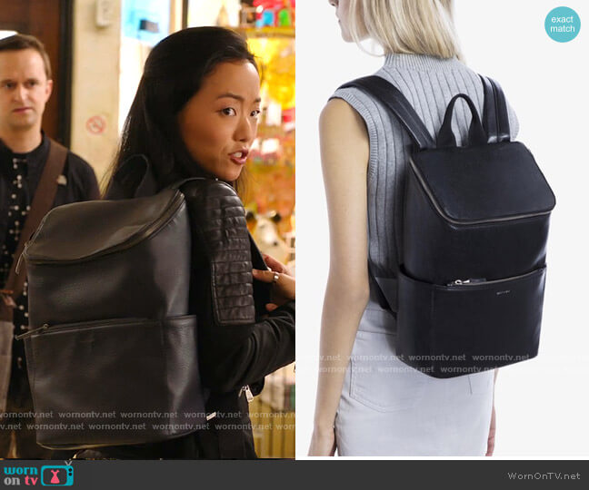 Brave Backpack in Navy by Matt & Nat worn by Janet (Andrea Bang) on Kims Convenience