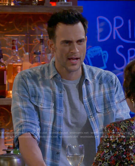 Max's blue plaid shirt on Call Me Kat