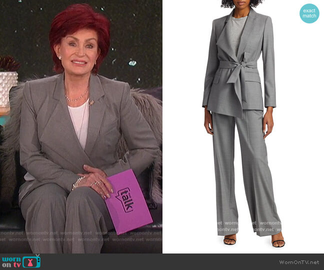 Belluno belted asymmetric wool blazer and pants by Max Mara worn by Sharon Osbourne  on The Talk