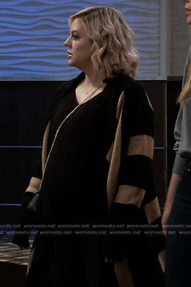 Maxie's black striped open cardigan on General Hospital
