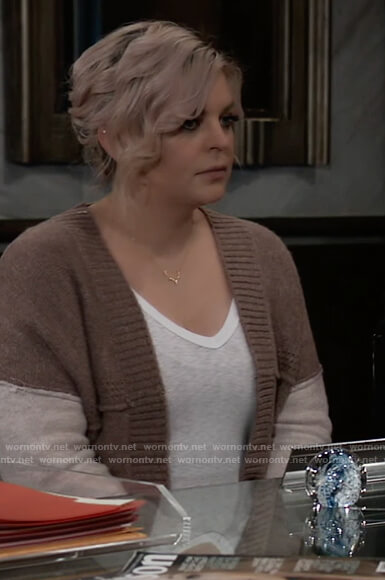 Maxie's brown colorblock cardigan on General Hospital