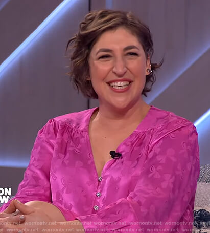 Mayim Bialik's pink floral satin dress on The Kelly Clarkson Show
