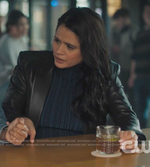 Mel's blue striped top and leather blazer on Charmed