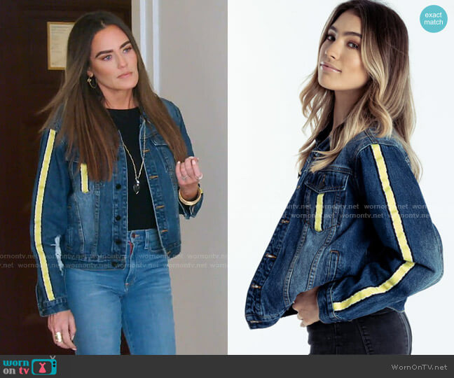 Delilah Denim Jacket Yellow by Meredith Marks worn by Meredith Marks  on The Real Housewives of Salt Lake City