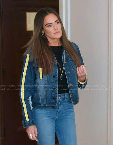 Meredith's yellow stripe denim jacket on The Real Housewives of Salt Lake City